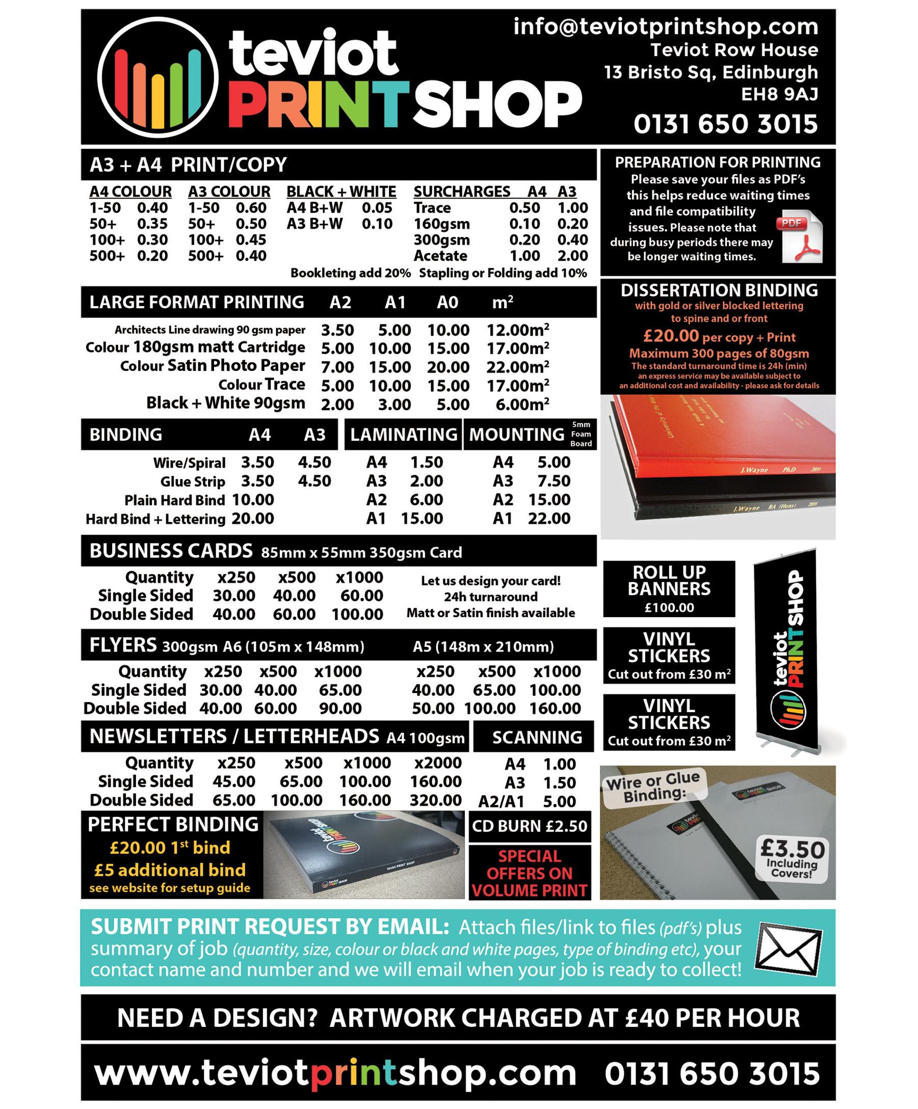 Teviot Print Shop – Price List